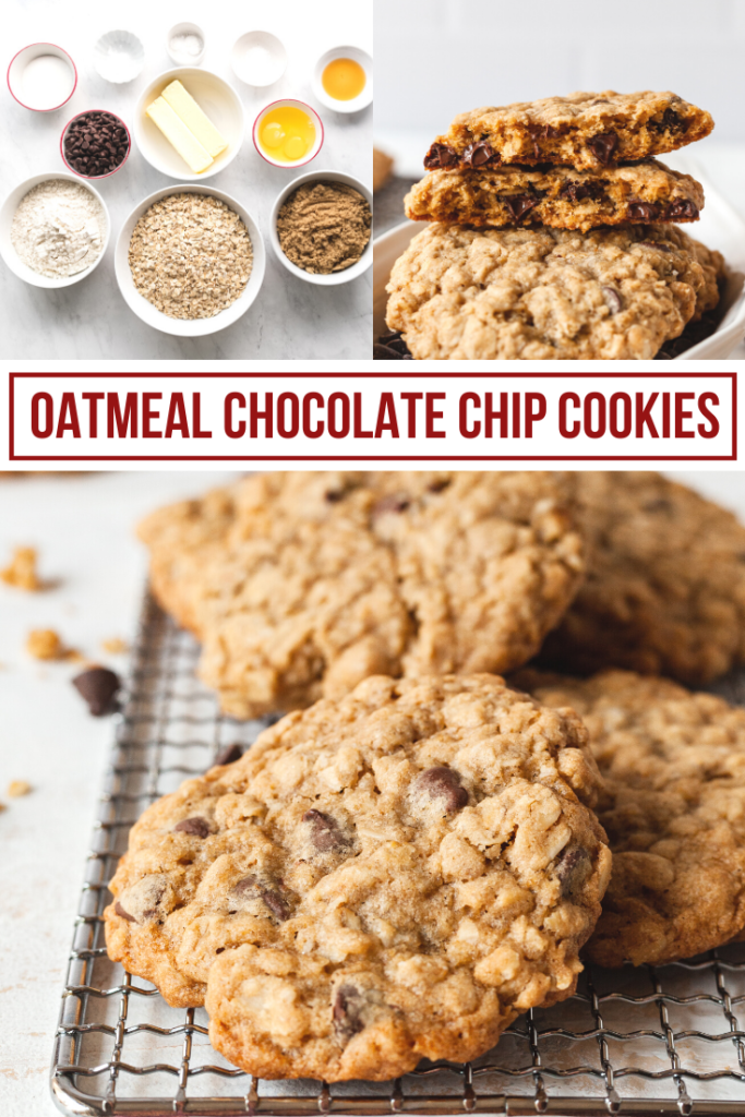 pinterest collage image of oatmeal chocolate chip cookies