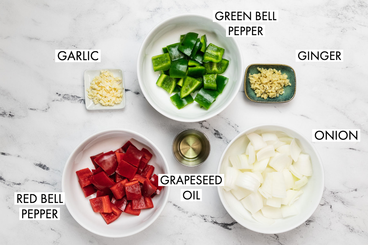 image of ingredients for kung pao tofu