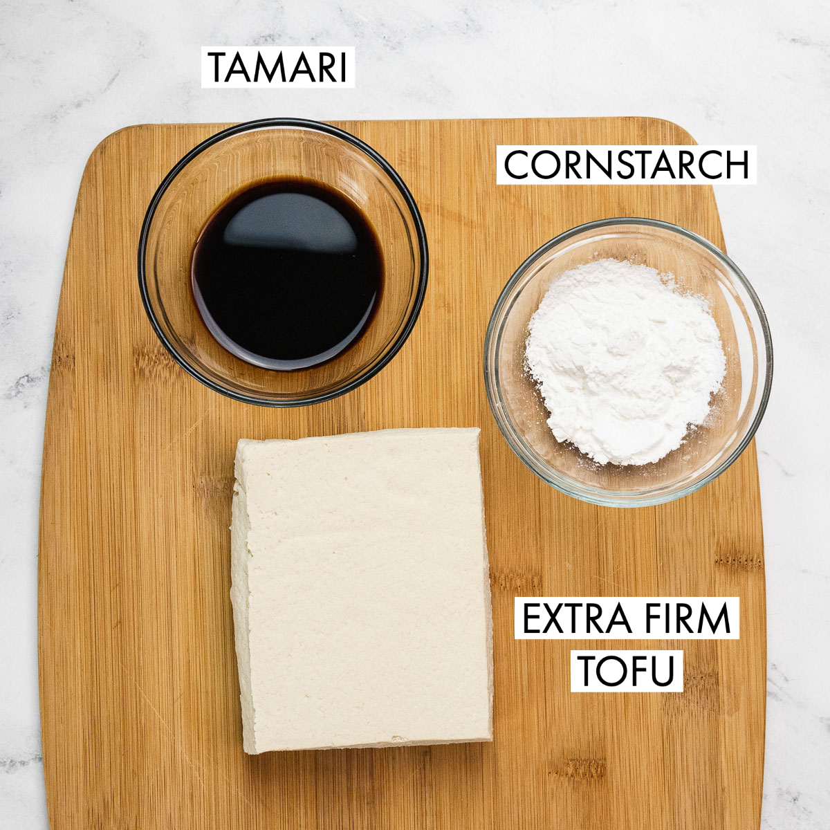 image of  tamari, cornstarch and extra firm tofu ingredients for kung pao tofu