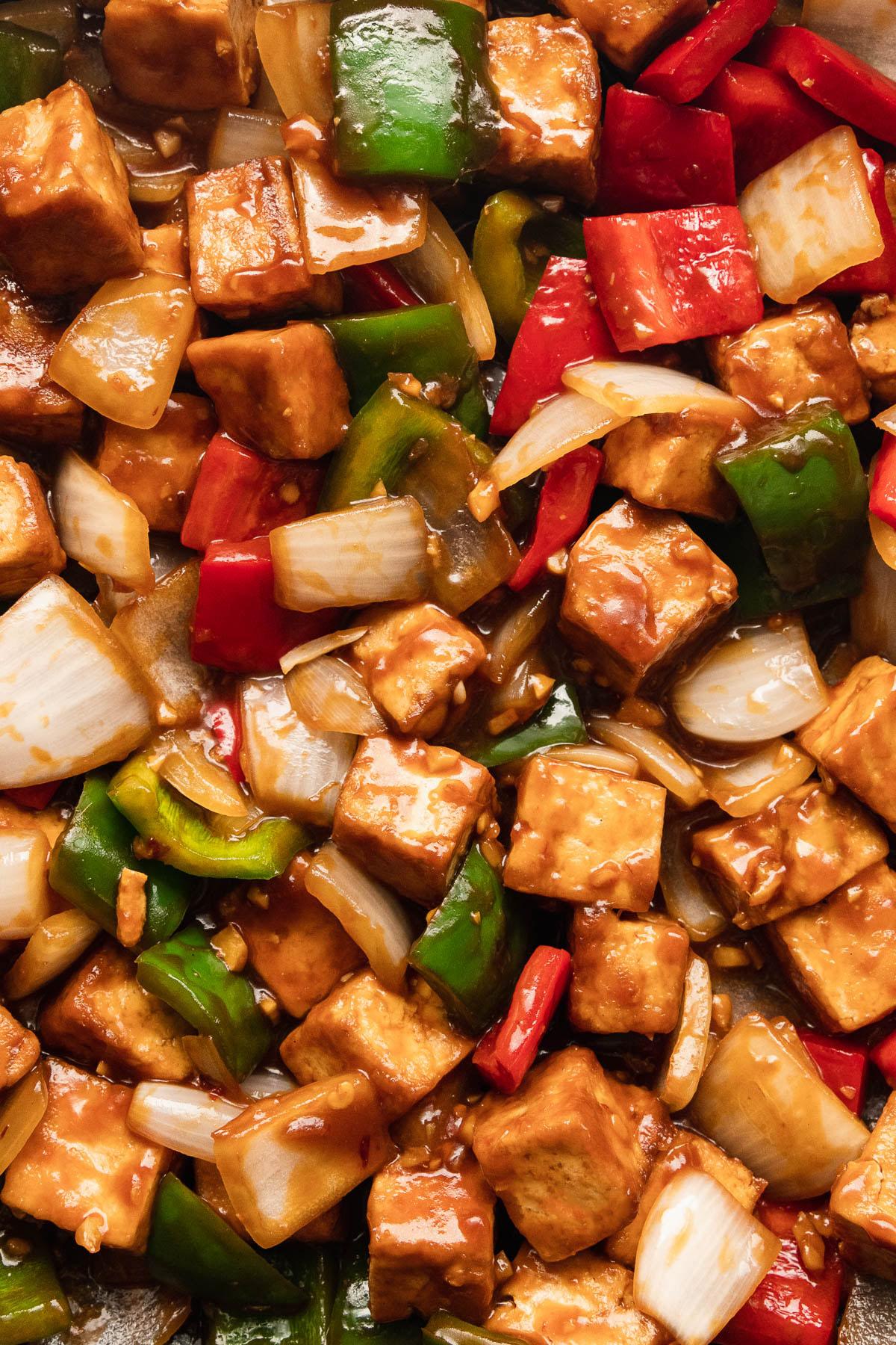 close up image of tofu with veggies