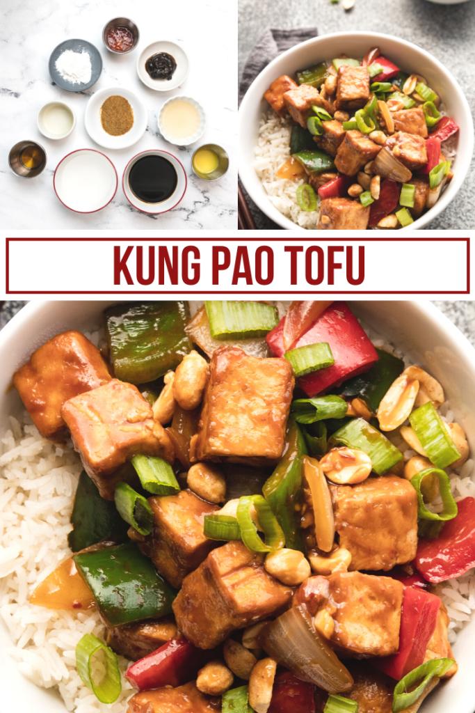 collage image of making kung pao tofu