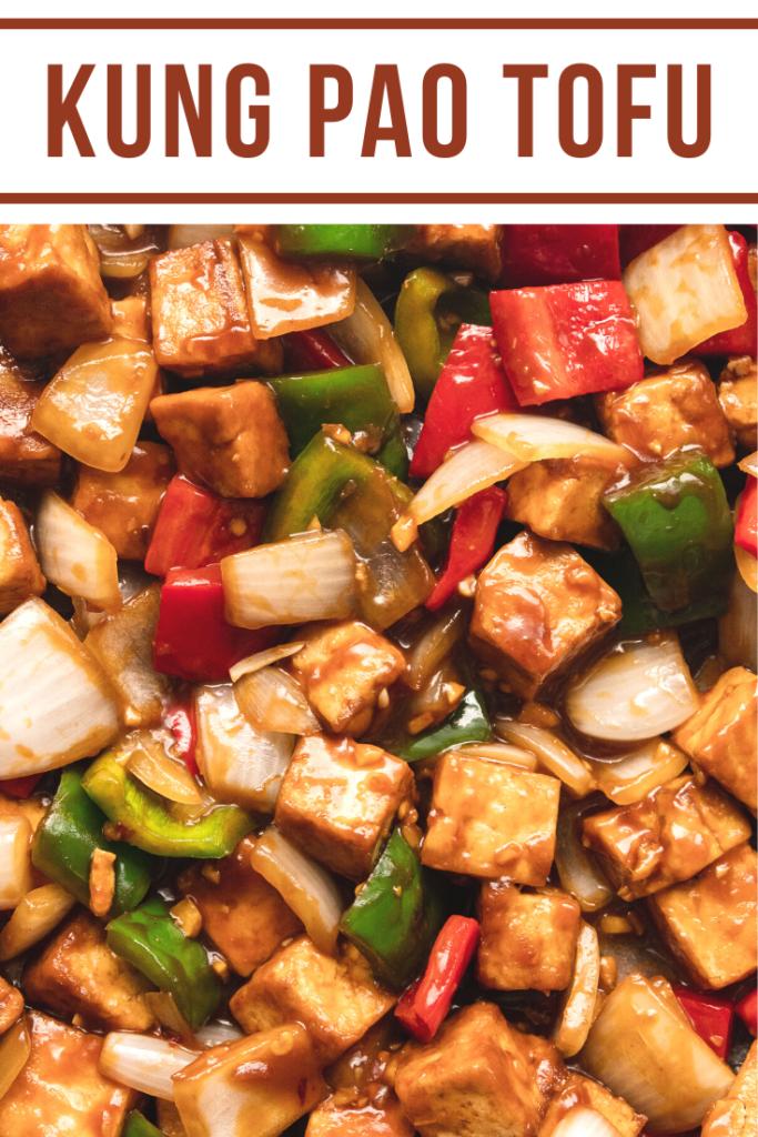 close up of kung pao tofu