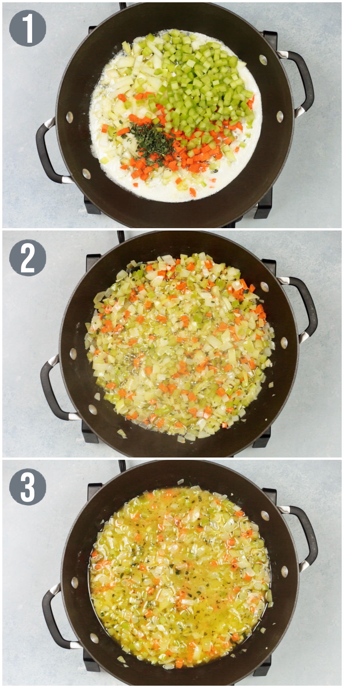 three photos showing the process of making homemade vegetarian stuffing