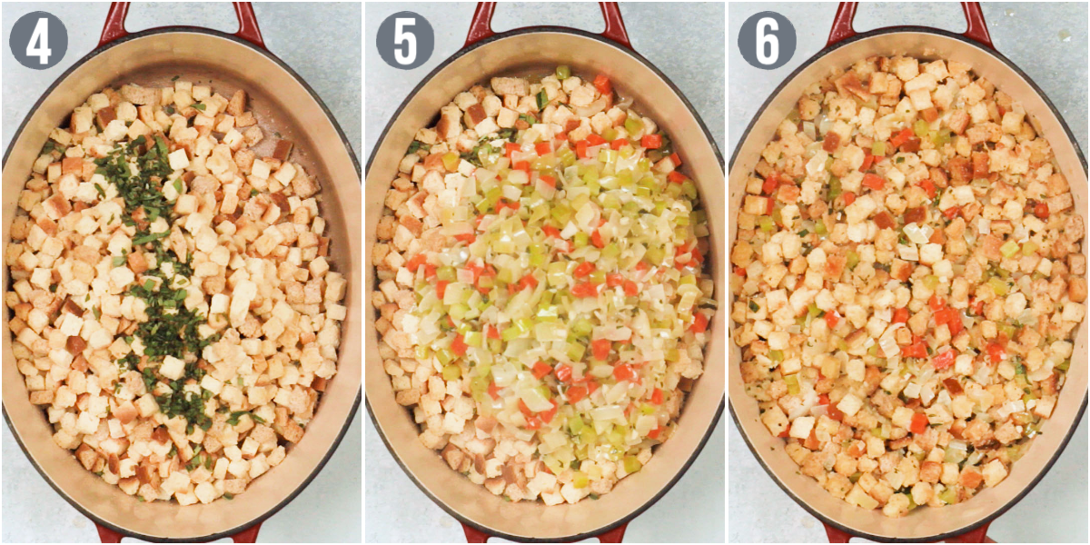 three photos showing the process of making a vegetarian stuffing recipe