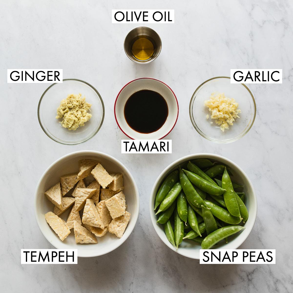 ingredients for easy stir fried tempeh