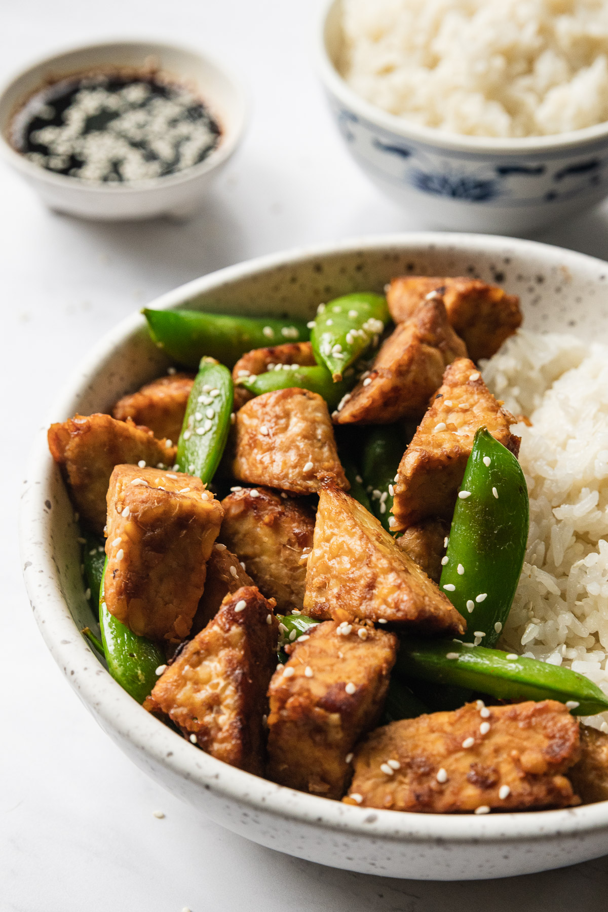 a bowl of garlic ginger tempeh with rice and soy sauce