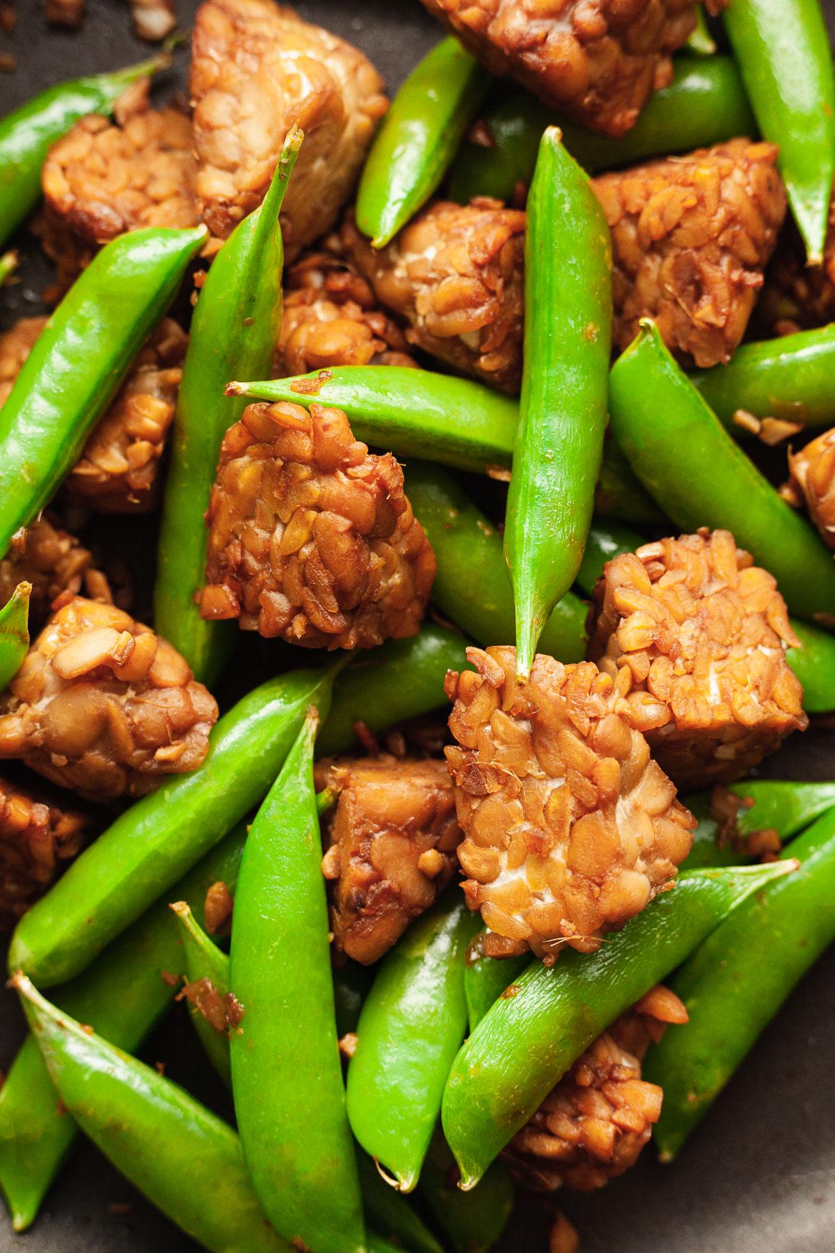 close up of easy stir fried tempeh