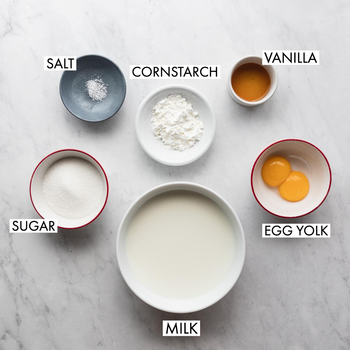ingredients for vanilla pastry cream
