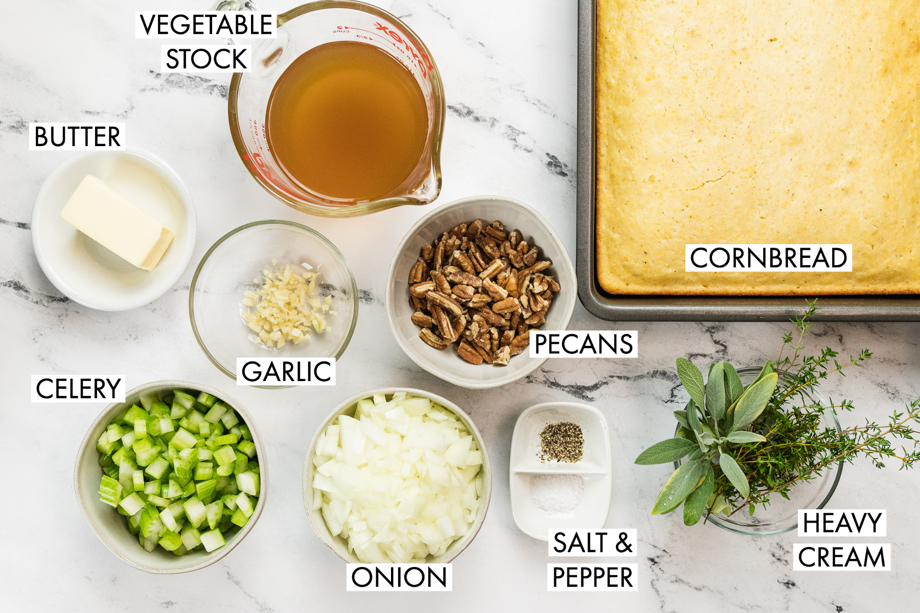ingredients for vegetarian cornbread stuffing