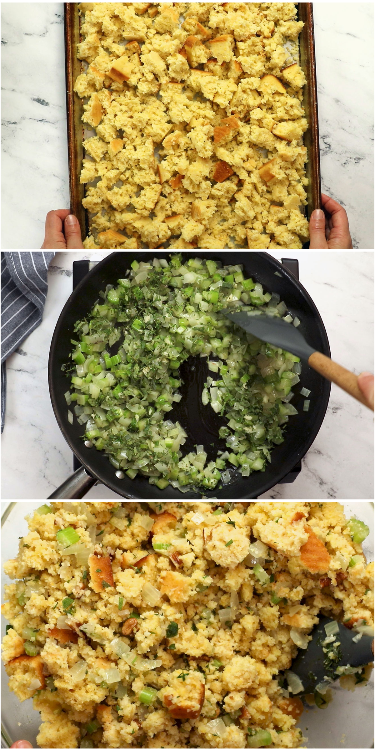 process photos for vegetarian cornbread stuffing