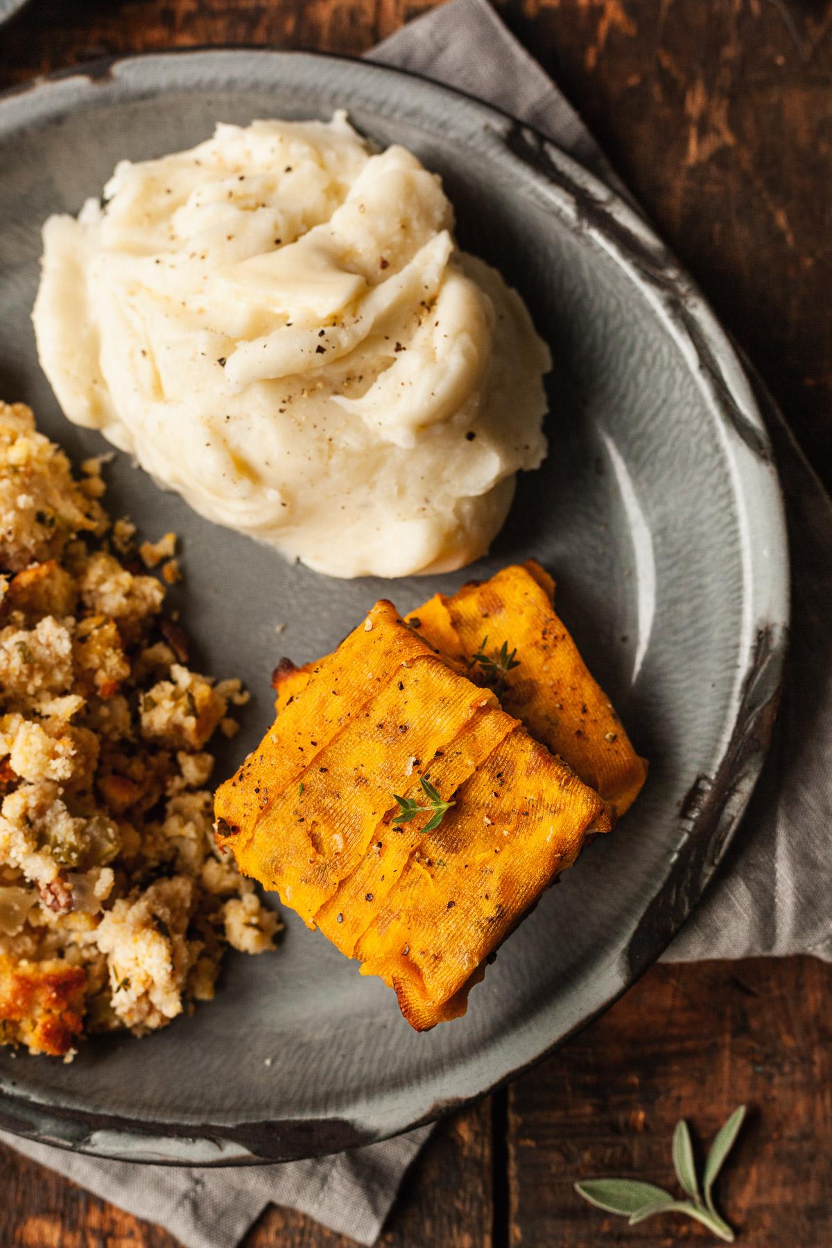 a vegan thanksgiving main dish on a plate