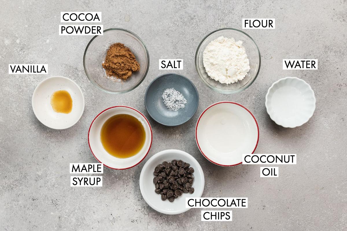 ingredients for a vegan mug brownie