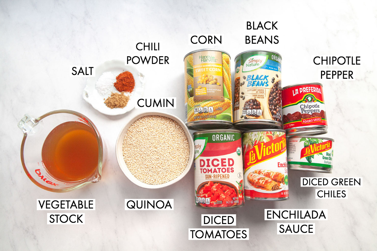 image of ingredients for quinoa enchilada casserole