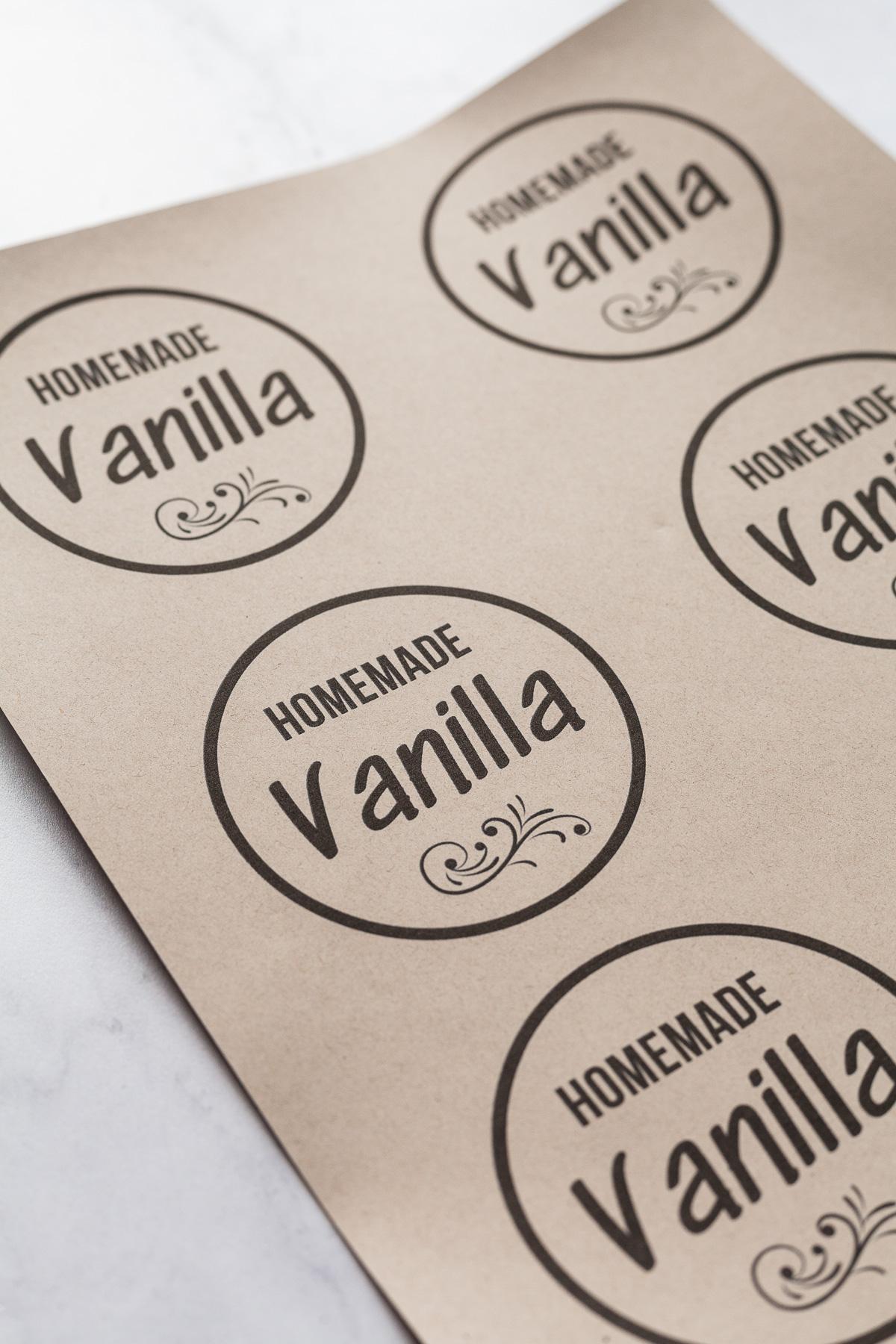 image of homemade vanilla labels