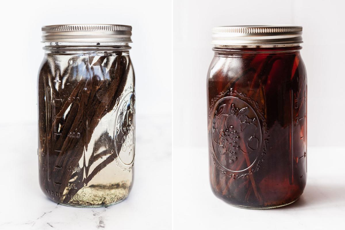 image of  vanilla beans soaking in vodka in mason jars