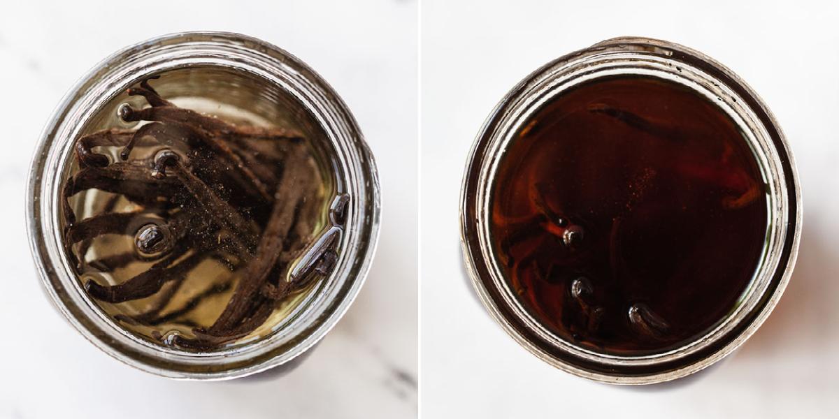 top view image of vanilla beans soaking in vodka in mason jars