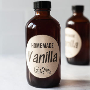 featured image of vanilla extract in two glass amber bottles