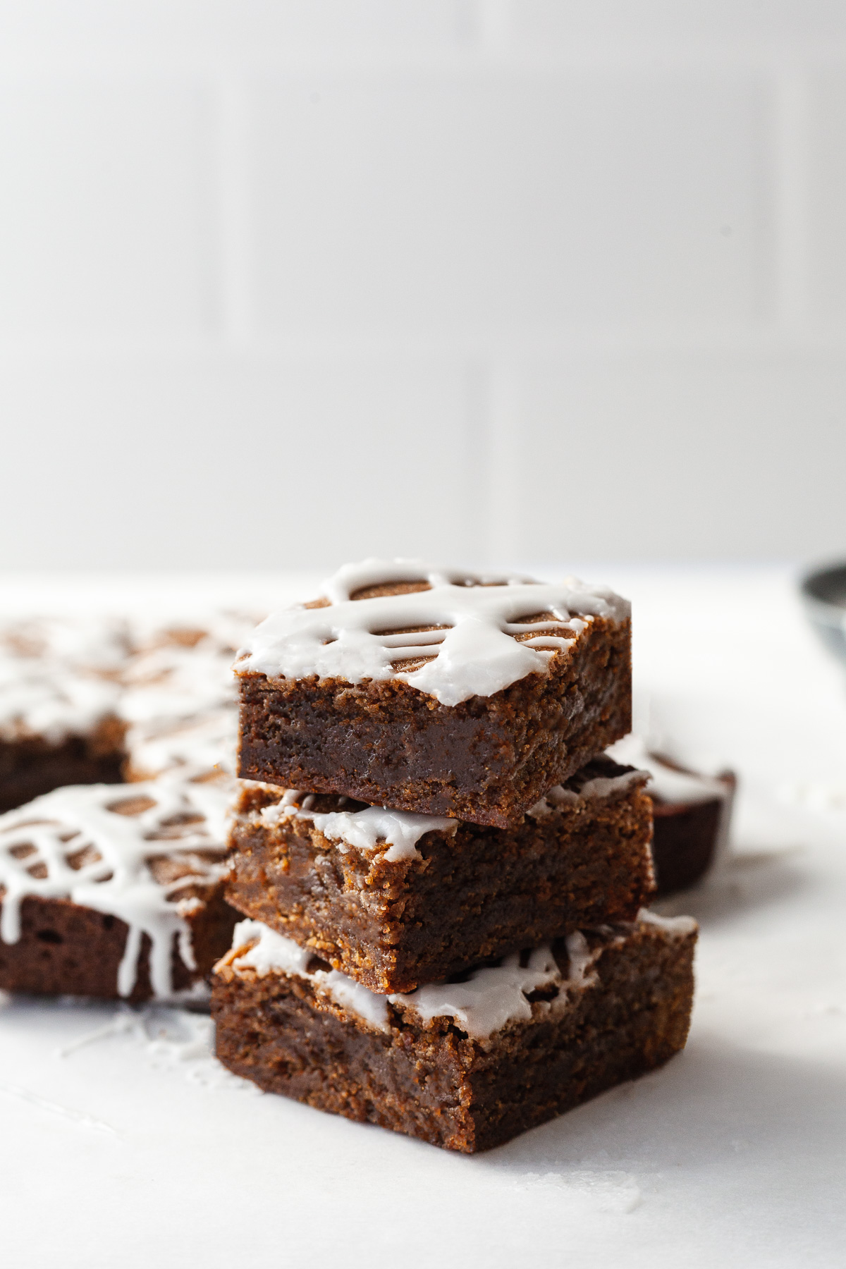 image of 3 gingerbread bars stacked on top of each other