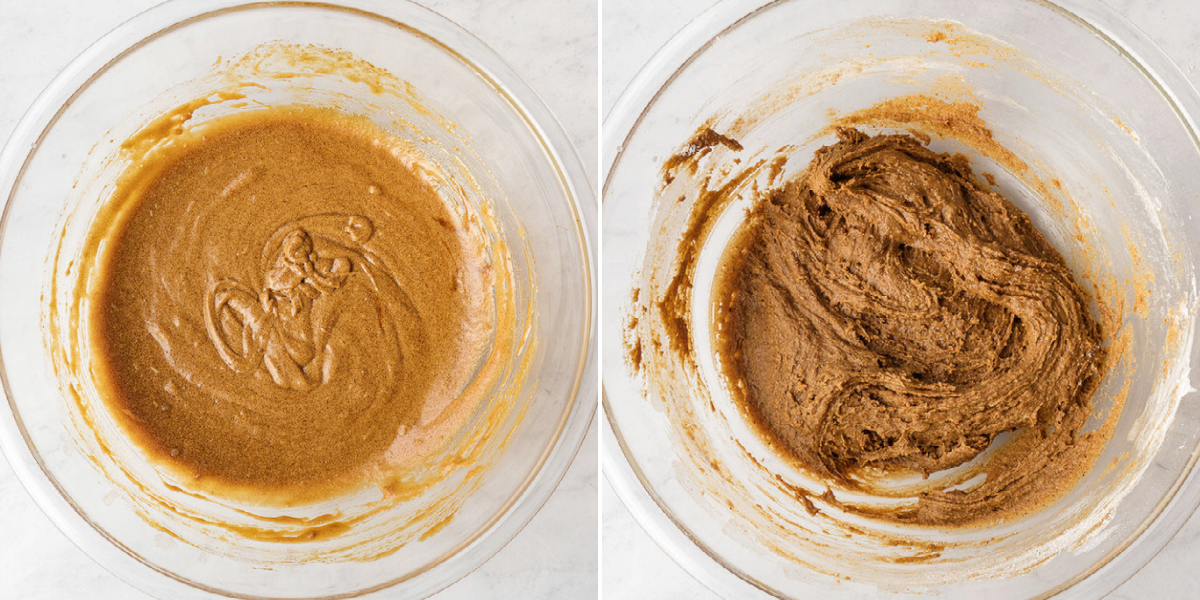 image of two bowls with the ingredients of gingerbread bars mixed into