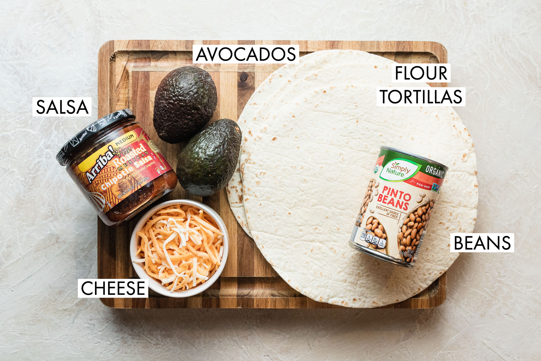 image of ingredients for grilled bean and cheese burrito