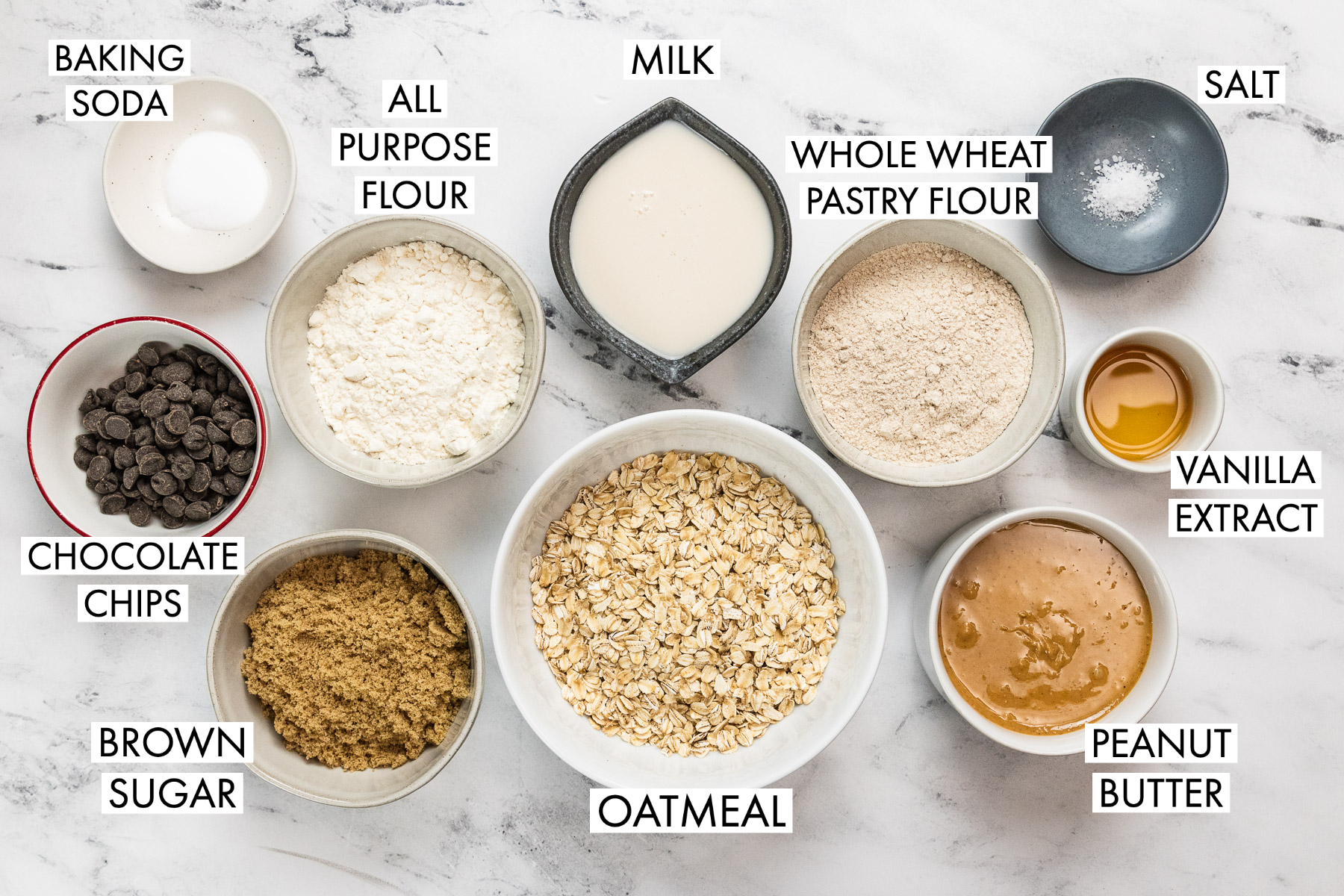 image of ingredients for peanut butter oat bars