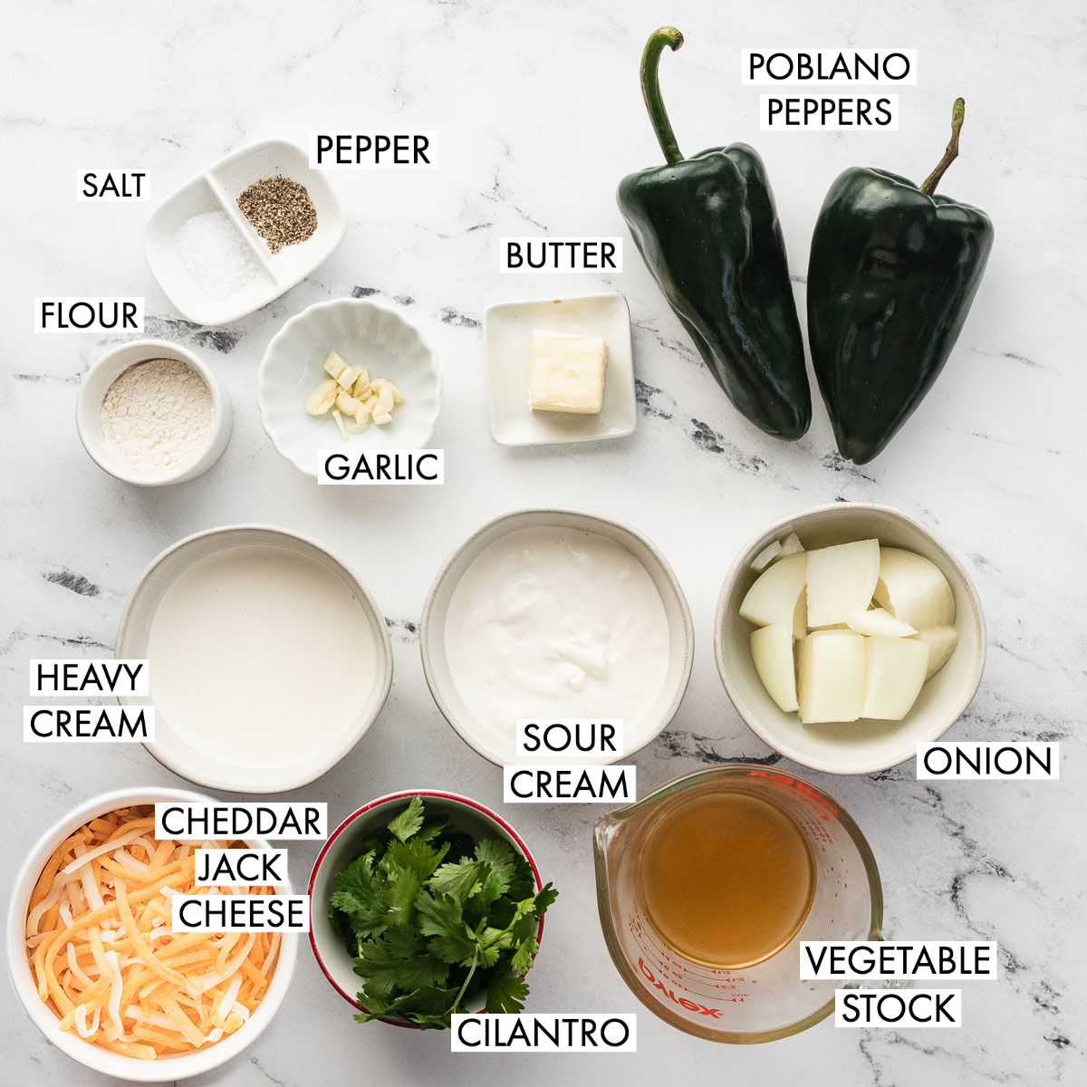 image of ingredients for poblano cream sauce