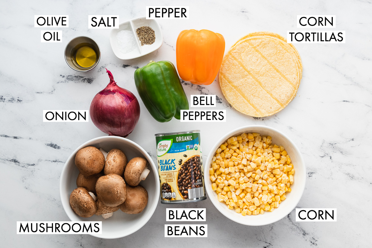 image of ingredients for roasted veggie tostadas
