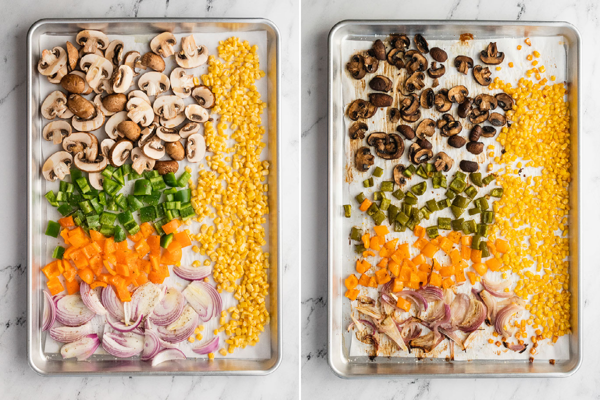 image of two baking sheets. One with uncooked veggies and the other with cooked veggies.
