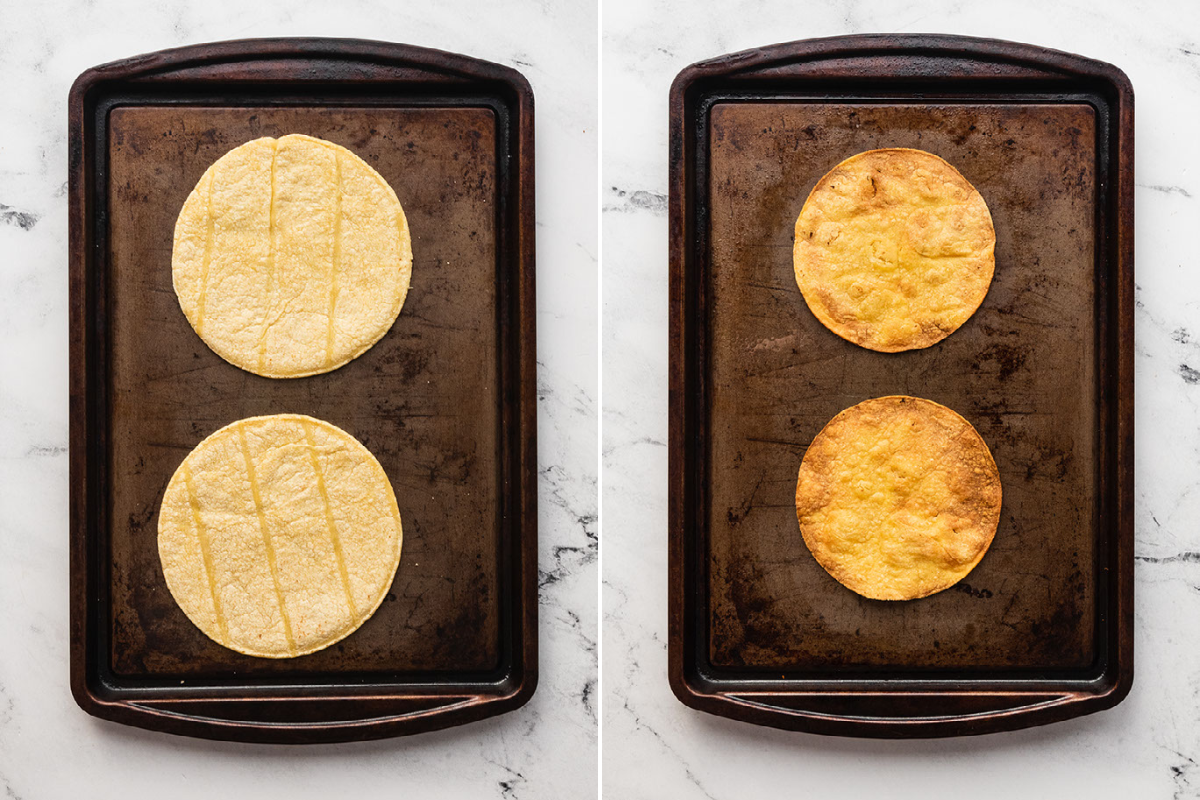 image of tostadas on baking sheets. One with uncooked tostadas and the other with cooked tostadas.