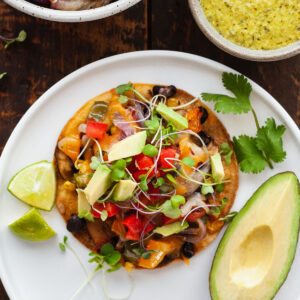 featured image of roasted veggie tostada on white plate
