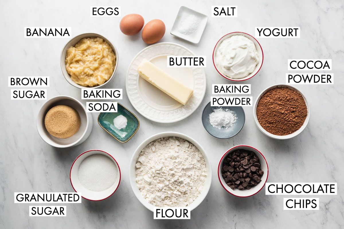 image of ingredients for double chocolate banana bread