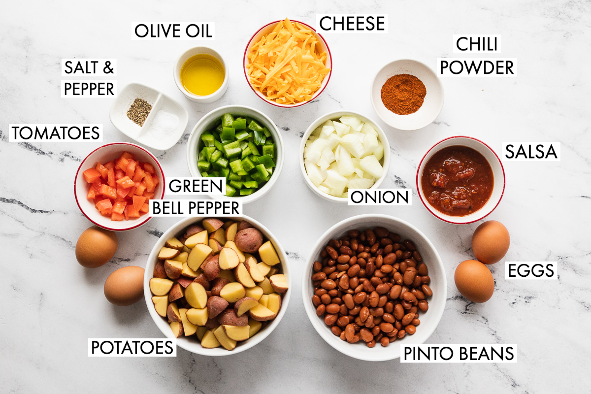 image of ingredients for southwest veggie breakfast skillet