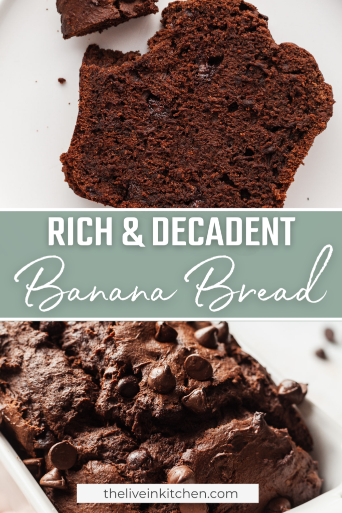 double chocolate banana bread slice and loaf
