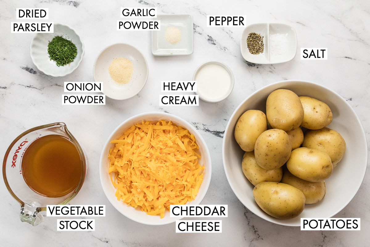 image of ingredients for instant pot scalloped ptoatoes