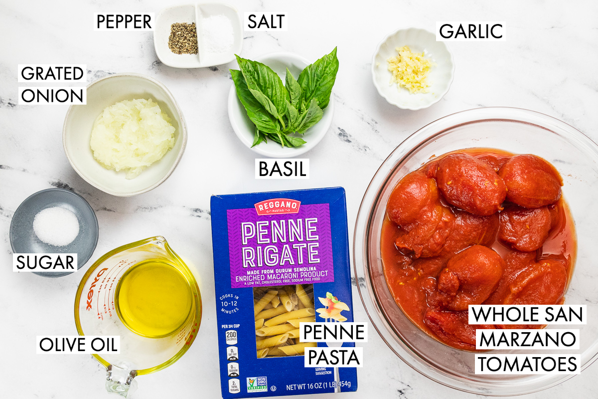 ingredients for penne al pomodoro