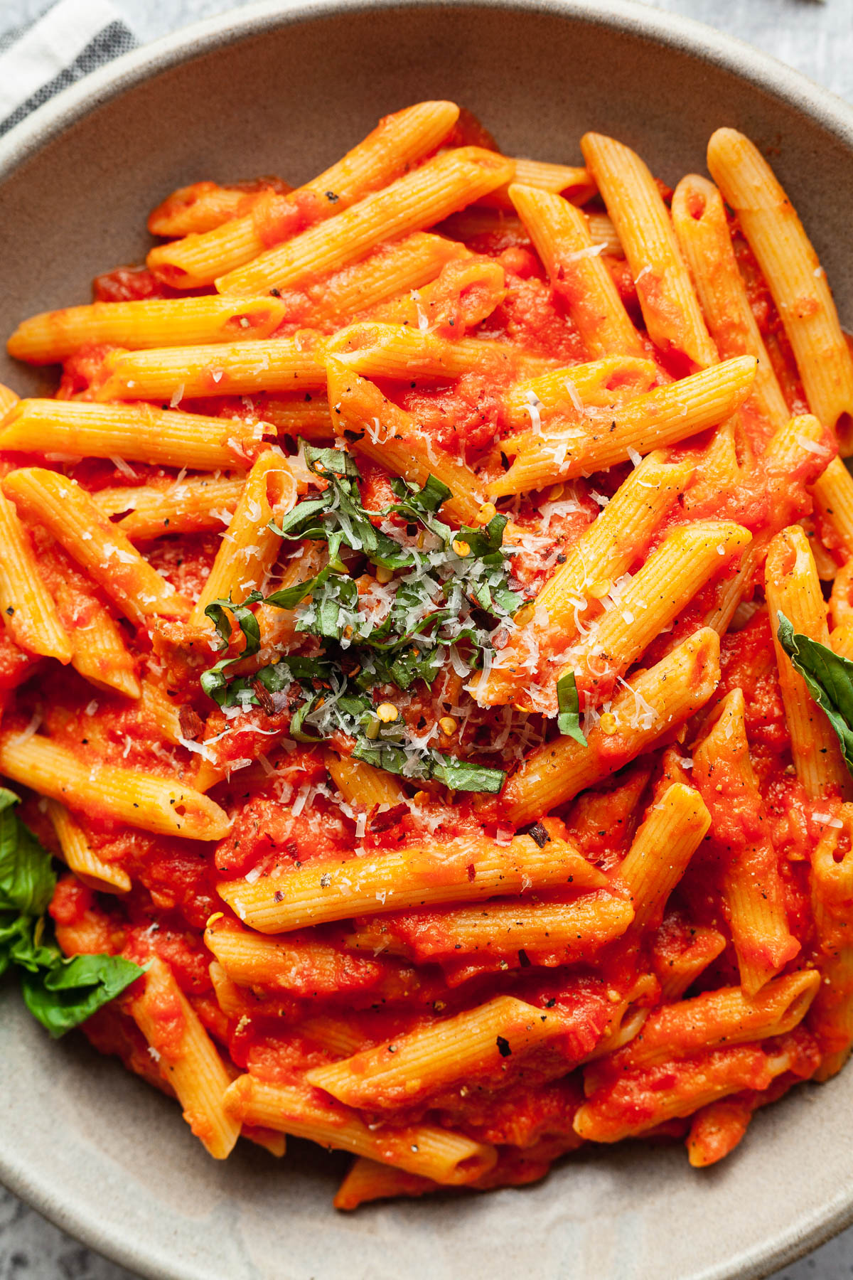 close up of easy vegetarian pasta recipe with tomato sauce