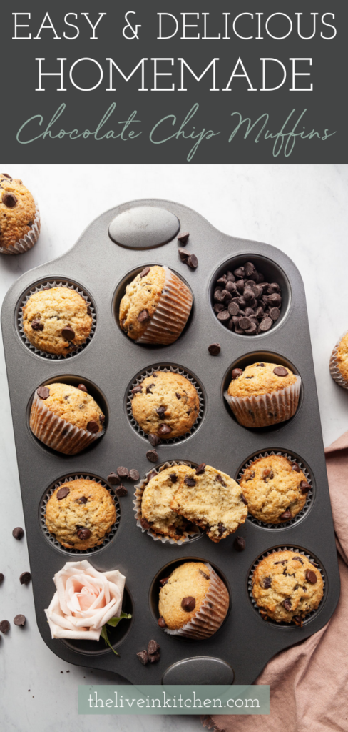 chocolate chip muffins in a pan