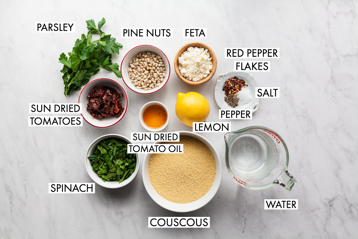ingredients for mediterranean couscous salad