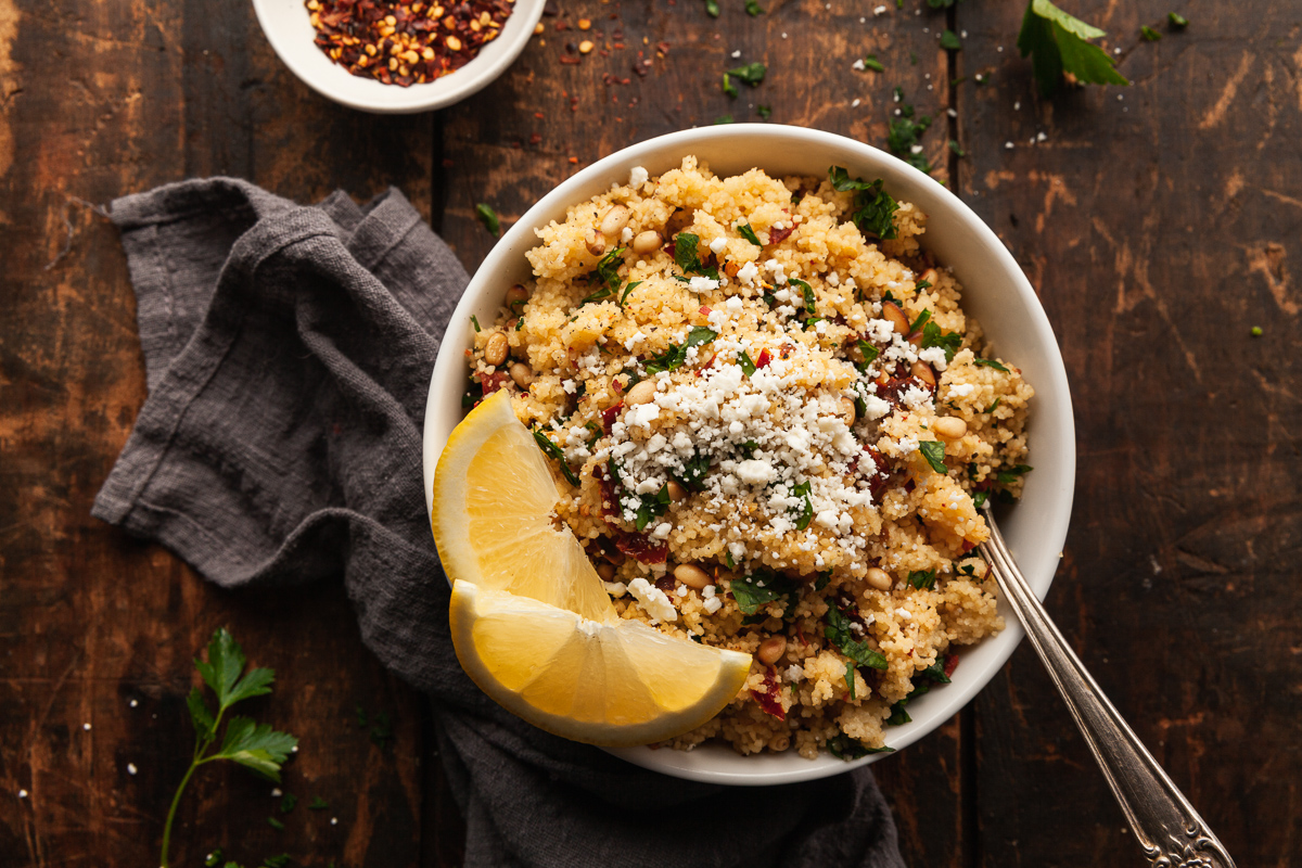 a bowl of mediterranean couscous salad recipe