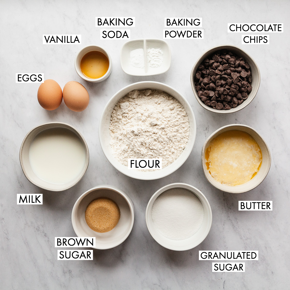 ingredients for the best chocolate chip muffins