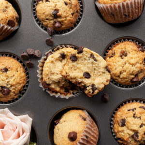 chocolate chip muffins on a muffin pan