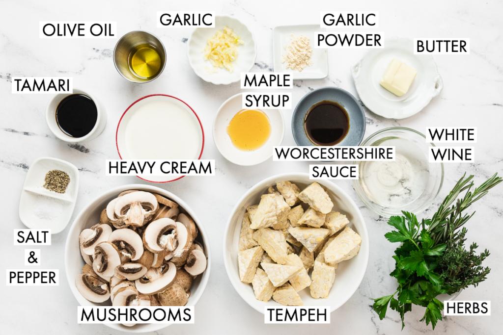 ingredients for creamy mushroom tempeh