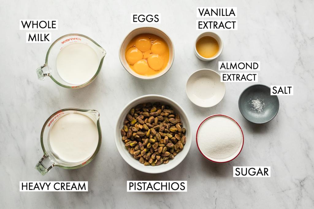 ingredients for pistachio ice cream