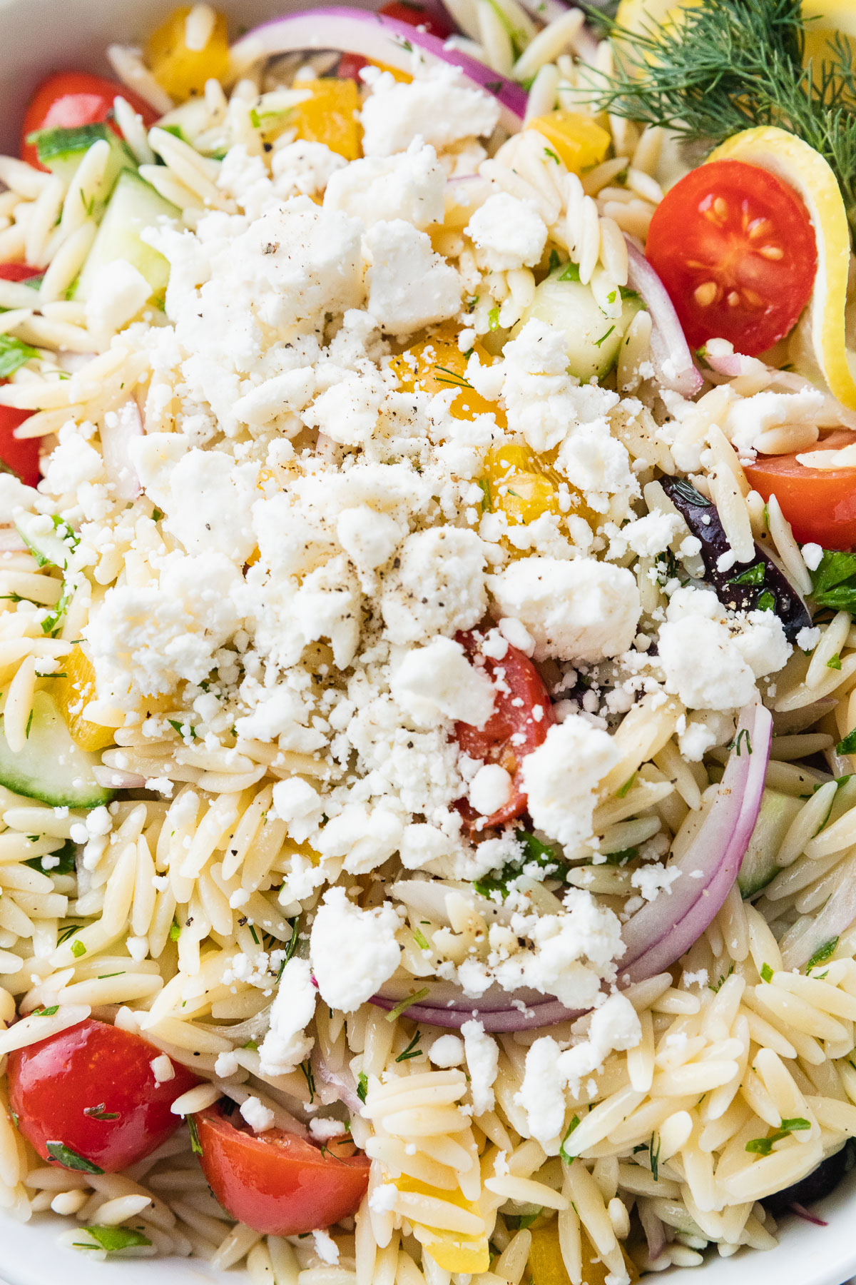 close up of greek orzo salad with feta