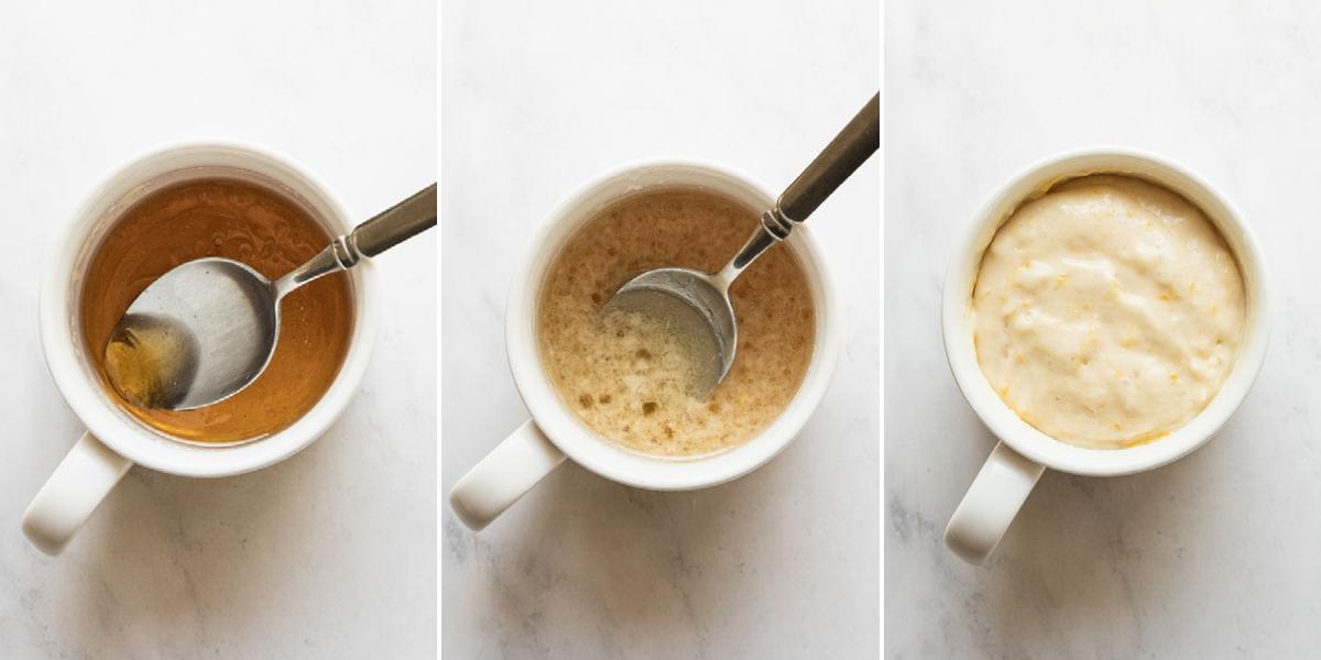 step by step photos of making a lemon mug cake