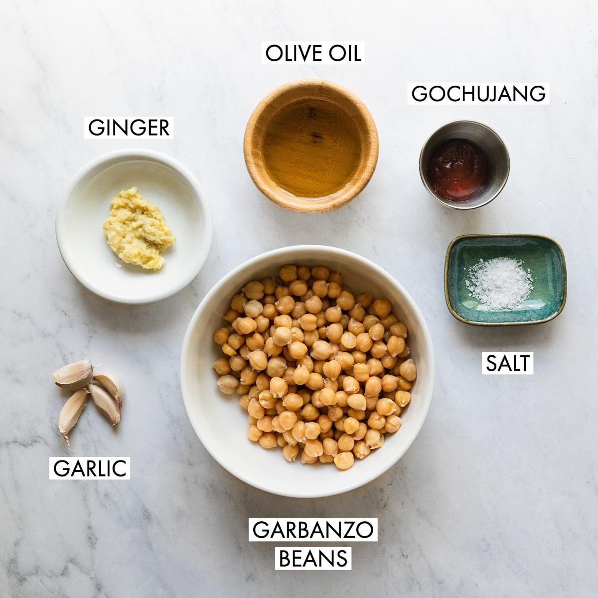 ingredients for gochujang crispy chickpeas