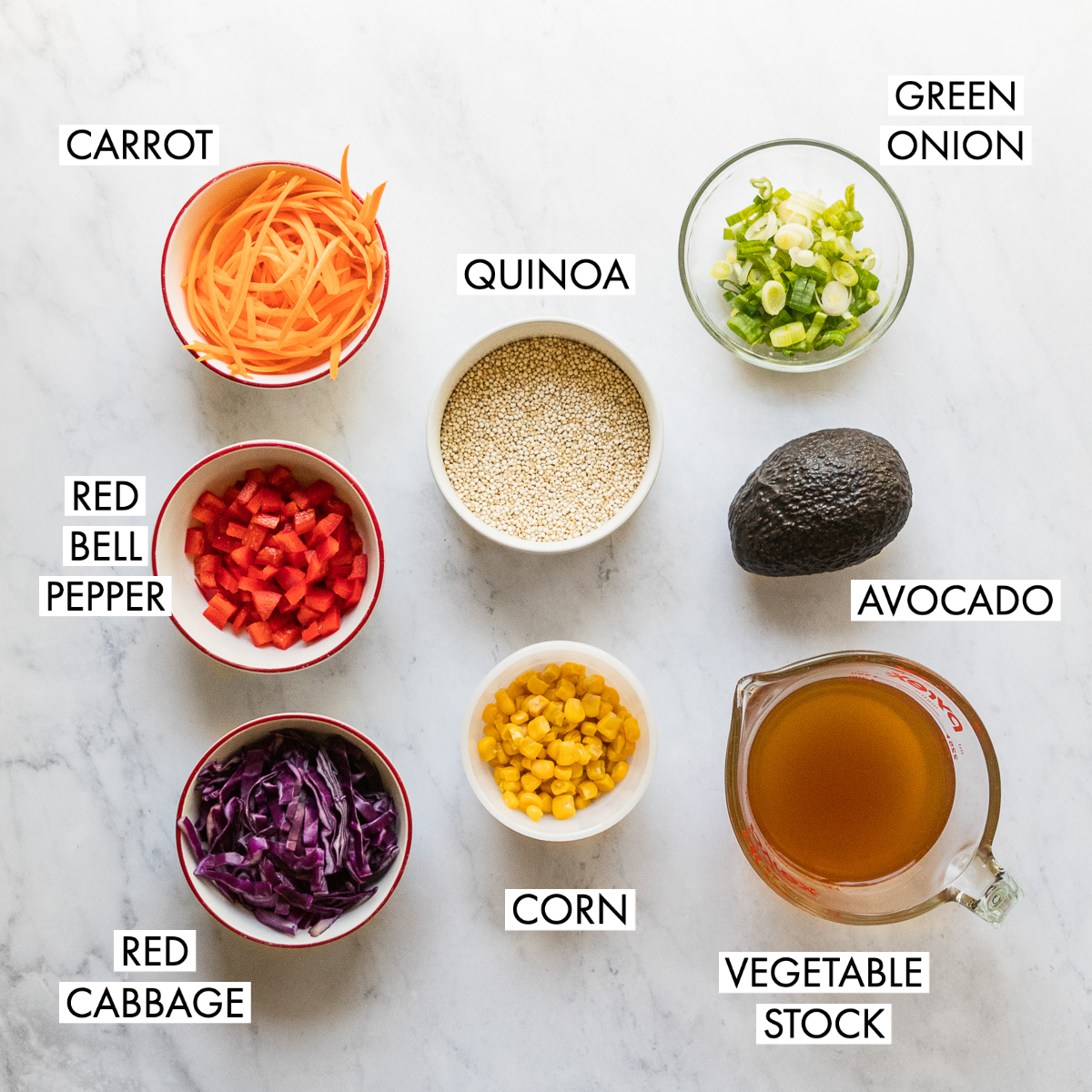 ingredients for rainbow quinoa salad