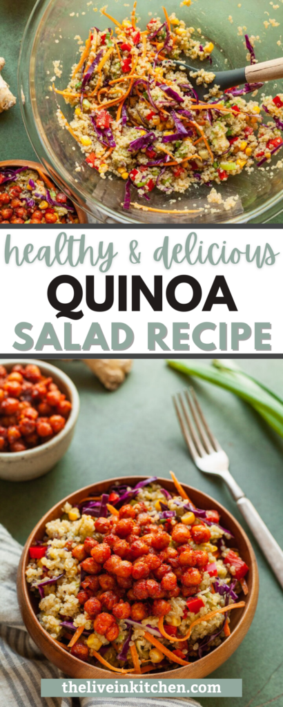 rainbow quinoa salad in two types of bowls