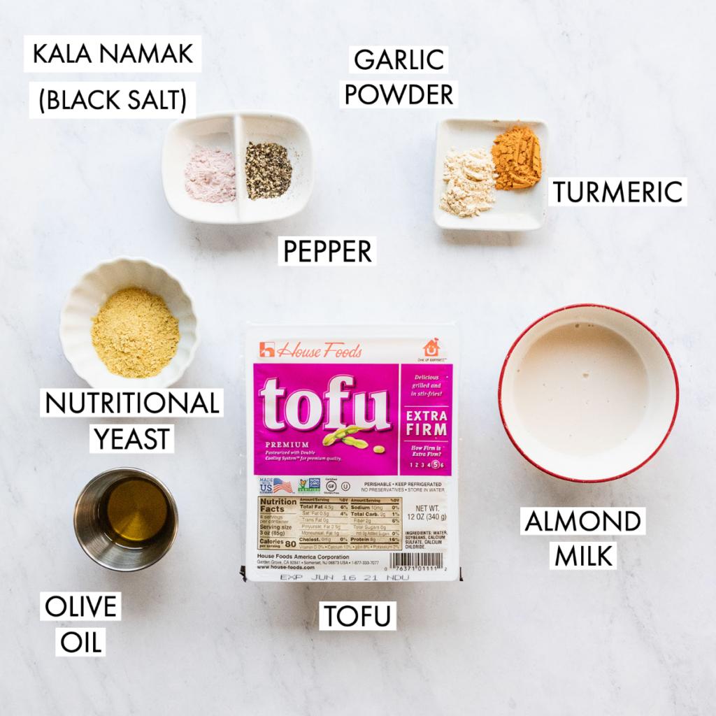 ingredients for tofu scrambled eggs