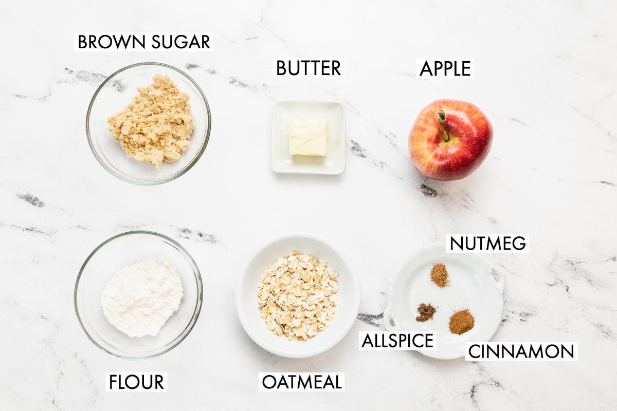 ingredients for single serving apple crisp